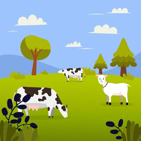 Nature landscape with cows, goat , grass, trees , hill and montain.Meadow and sky background in flat design.Summer green field vector.Beautiful green field with animal farm with blue sky