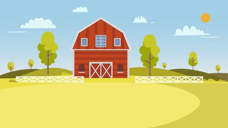 Fresh Farm landscape.Summer farm landscape with trees, clouds and sun. Rural scenery with barn Vector illustration