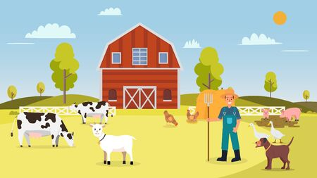 Nature farm with animal in summer.Farm with cows ,hen, goose, duck, pig, dog, goat, barn , farmer and hays.Landscape with farm vector illustration. Rural farm scene flat design.Animal farming concept