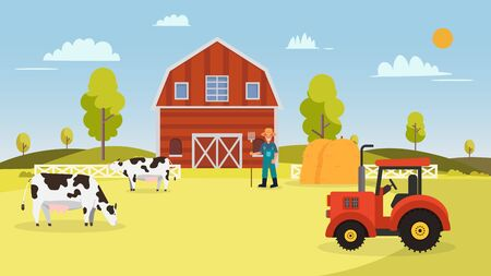 Farm with cows ,tractor, barn , farmer and hays.Landscape with farm vector illustration.Nature farm in summer Ilustracja