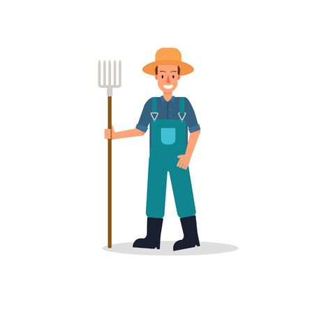 Farmers vector flat design isolated on white background. Cartoon characters of man farming hold hay fork.Happy farmer with tool illustration