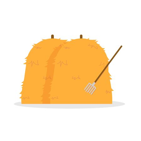 Bale of hays with hayfork vector illustration isolated white background.Flat hays design