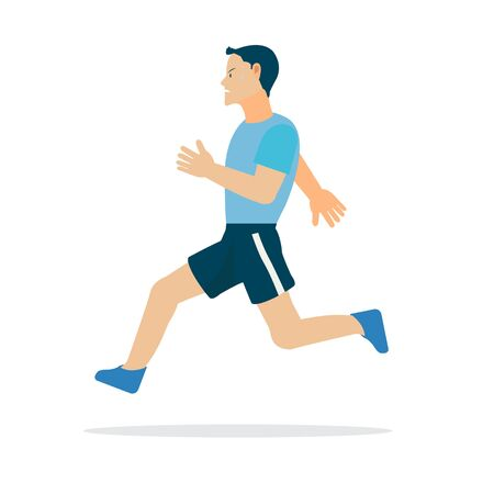Sport man running with isolated white background.Healthy man character exercise vector illustration Ilustracja