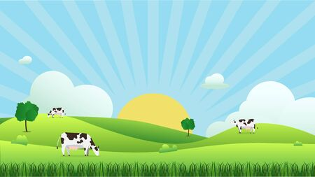 Paesaggio del prato con mucca che mangia erba, illustrazione vettoriale. Campo verde e cielo azzurro e sole splendere con sfondo nuvola bianca. Bella scena della natura con alba. Mucca con scena naturale. Vettoriali