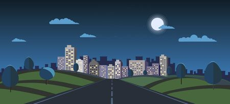 Night cityscape with nature landscape vector illustration.Public park and night town with moon and sky.Dark scene with road to city.Building night view
