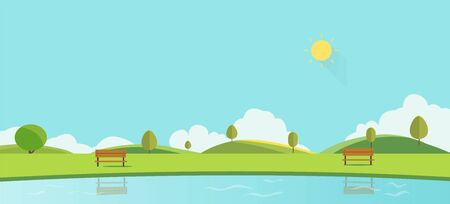 Public park with bench sky background vector illustration.Beautiful nature scene.Spring park landscape with lake Ilustracja