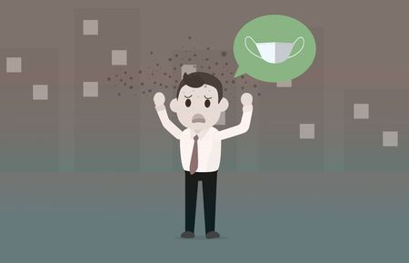 Air pollution PM2.5 with businessman missing a mask.Vector illustration.Man not wearing a mask in dirty town Ilustracja