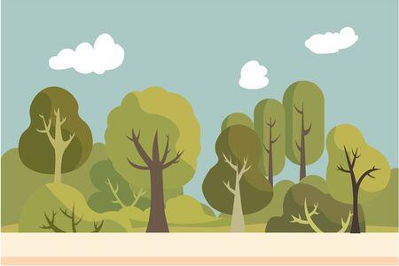 Public park with nature landscape.Summer beautiful landscape.Environment garden with sky background.Nature scene flat design.Vector illustration