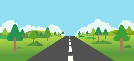 Road to nature backgroud vector illustration.Street with field ,forest,  hills , clouds and trees.Beautiful nature landscape.Road trip to forest