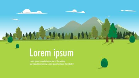 Nature landscape with forest, hills, clouds and sky vector illustration. Natural background banner template with place for your text.Beautiful meadow scene.Summer green field with mountain