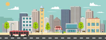Cityscape and company buildings , minibus and van on street vector illustration.Business buildings and public bus stop in urban.Smart city with sky background