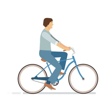 Young man riding bicycle. Vector illustration.Hipster young man with vintage bike