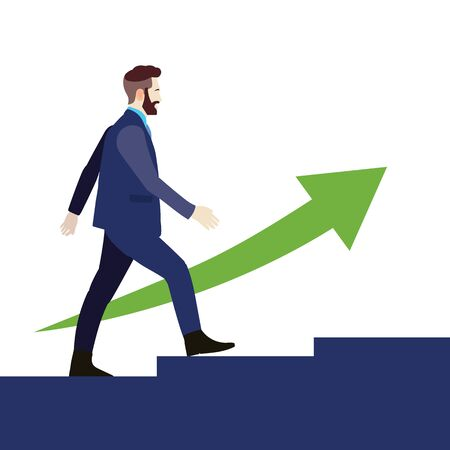 Businessman walking up stair with green arrow up.Growth business man concept.Young man go to success  イラスト・ベクター素材