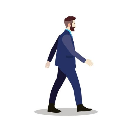 Businessman walking with isolated white background.Smart business man full body vector