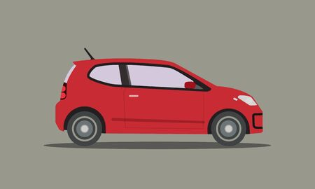 Flat red car vector.Automobile with isolated background.Side of mini car design