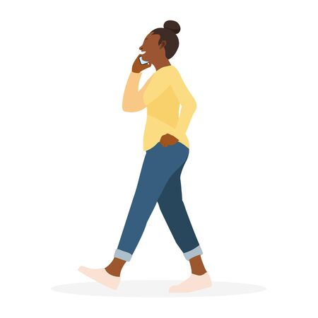 Young woman walking and calling vector illusration.Smart girl happy to talk on phone.Lady character  イラスト・ベクター素材