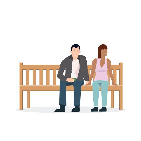 Flat people sitting on park bench vector illustration.Man and woman waiting.Person rest in holiday 向量圖像