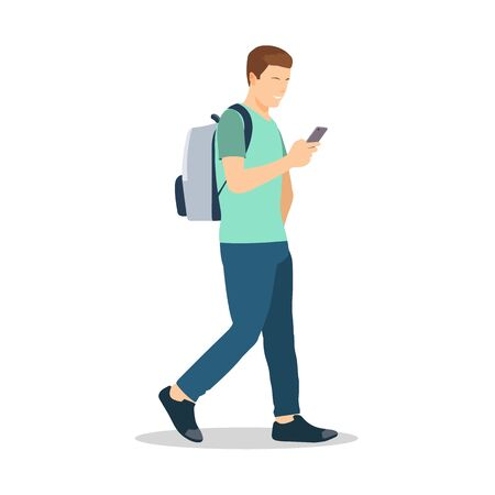 Young man walking with holding smartphone.Vector illustration.Flat male with modern lifestyle  イラスト・ベクター素材