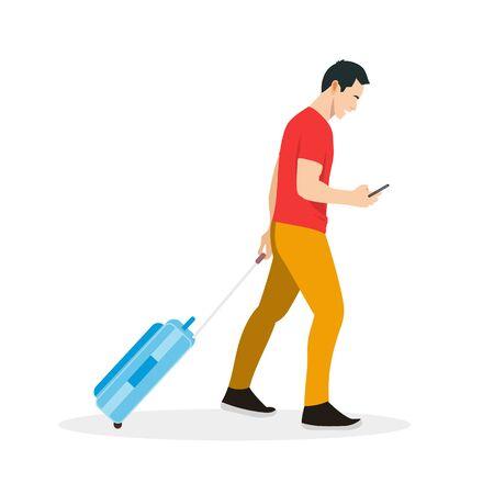 Flat boy walking vector illustration.Full body man drag bag and holding smartphone.Happy man go to travel  イラスト・ベクター素材