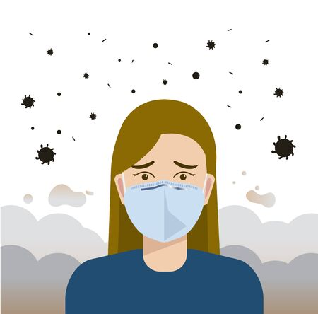 Woman wearing mask for protect pm2.5 or virus vector illustration.Girl