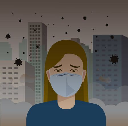 Woman wearing mask for protect pm2.5 or virus in city vector illustration.Girl wear Face Mask Against Air Pollution with urban scene.Bad pollution in town;