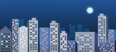 Night cityscape vector illustration.Night urban scene with moon.Business building background