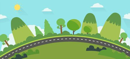 Beautiful nature landscape with road background.Green Hills with street and blue sky .Earth view public park landscape background  イラスト・ベクター素材