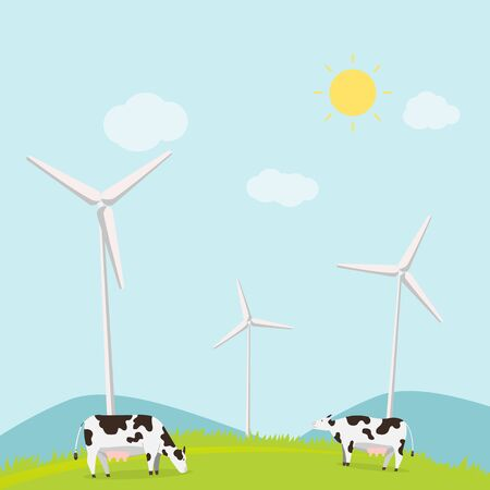 Nature landscape with cows and turbine wind vector illustration.Animal with meadow and mountains in summer.Rural scene ecology concept