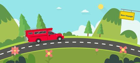 Beautiful nature landscape with bon voyage sign and hills background.Red car on road with Green Hills and blue sky.Vintage car thailand on street with natural scene.Vector illustration