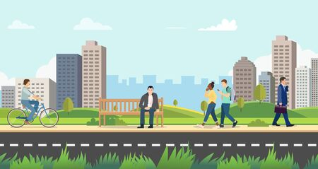 People in public park with cityscape background.Nature landscsape with activity person.Modern city with people on street.Vector illustration