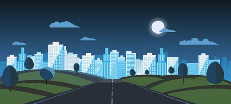Night Public park with main street to city and sky background.Vector illustration.Road with night urban.Night cityscape and nature scene 向量圖像