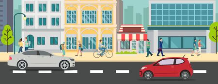 Cityscape with people walking and car on street vector illustration.Business buildings and business man walk.Urban city with car on road.Business town scene  イラスト・ベクター素材