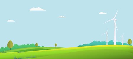 Nature landscape with turbine wind in summer.Vector illustration.Green field with sky background.Eco nature scene
