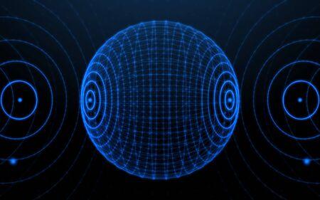 3D digital circle technology background.Sphere line network
