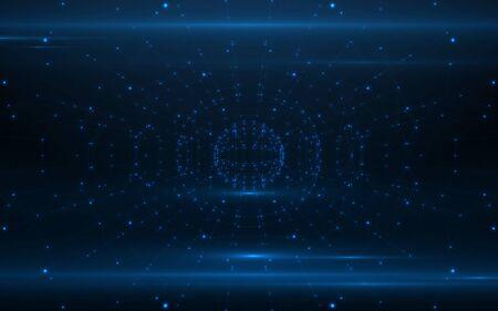 Abstract modern lines network background.Digital blue light pattern background