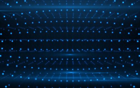 Blue dots pattern lines background.Digital technology background
