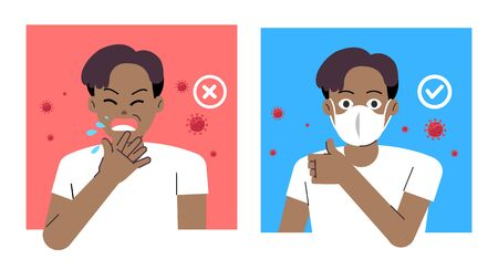 Comparing man good healthy with wearing protect mask and bad man sneeze in public.Vector illustration.Young man cough with corona virus.People wearing mask protect COVID-19