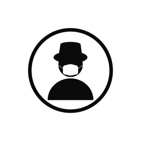 Man wearing mask and hat pictogram vector illustration.Person wear mask protech virus icon
