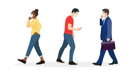 Group of people wearing mask protect virus.Vector illlustration.People walking with wearing mask set