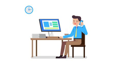Business man hard working concept .Cartoon Business man working on PC at desk.Vector illustration.Young  businessman stressed call mobile phone in office