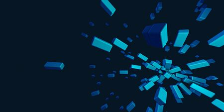 Abstract blue cube pattern explodes motion background.Box pattern texture 3D illustration.