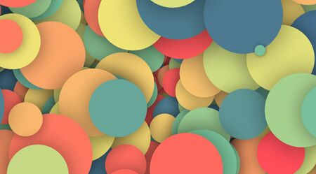 Colorful circles pattern with shadow background.Abstract color shape design.Modern circle decoration background.Party celebration background concept.