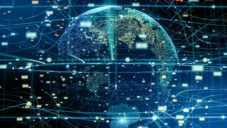 Global network and data connection. Digital planet technology network.Futuristic earth information technology