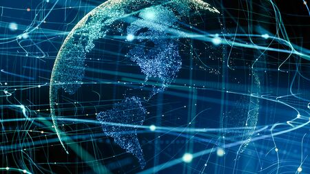 Digital data globe technology.Abstract planet network connection.