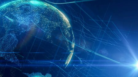 Digital Globe Cyber network with lens flare effect.Abstract World Map Business Background.Modern digital  global connectivity 写真素材