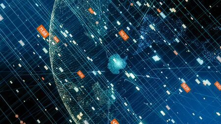 Digital planet technology with data.Abstract global network data connection.Cyberspace world concept