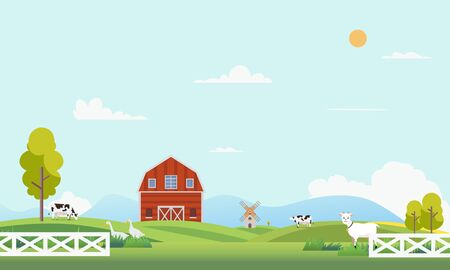 Farm landscape with animal.Summer farm landscape with trees, clouds , mountains and sun. Country farm with beautiful landscape.Modern flat nature farm with windmill and cow.Vector illustration