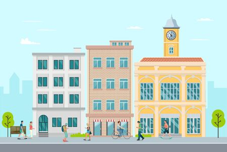 Flat apartment in town with people walking around.Town, leisure outside concept.Vector illustration.Modern buiding with people on street