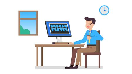 Businessman working at home and meeting using video conference.Flat man working from home.Work from Home WFH concept.Vector illustration