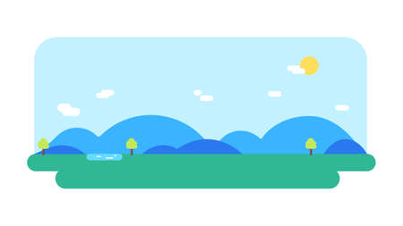 Nature landscape with river, hills ,sun and sky background.Vector illustration.Flat nature scene background. Çizim